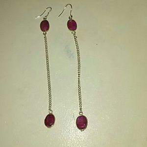 Dbl bezel set Natural Ruby 925 silver chain earrin